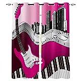 VBUEFM Cortinas Opacas Notas Musicales de Guitarra de Dibujos Animados Rojo Blanco Cortinas con Perforaciones Cortinas Térmicas Aislantes Cortina Habitación para ventanas100% Poliester 110x215cm x2