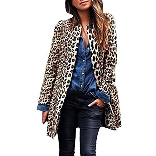 Damen Leopard Mantel Cardigan feiXIANG Frauen Winter Warmer Windjacke Langer Parka (Braun,L)