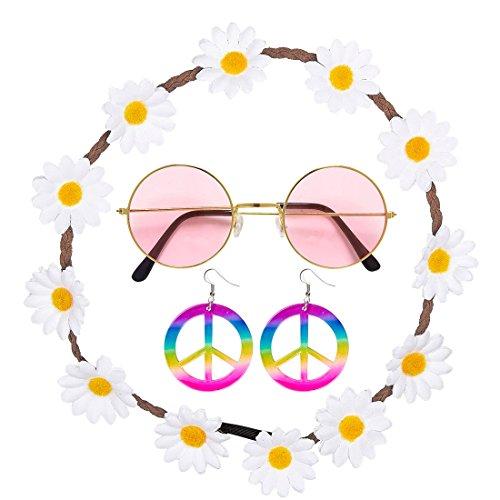 Amakando mit Haarband, Ohrringe und Brille Hippie Kostüm Set 60er Jahre Outfit Flower Power Haarschmuck Damen Mode Zubehör Sixties Damenkostüm Accessoire