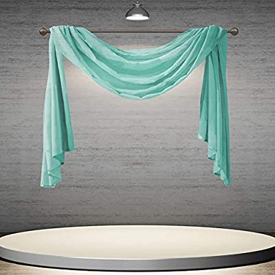 DONREN 144 Inch Length Window Scarf for Background - Luxury Soft Sheer Scarf Add to Window Curtains for Enhanced Effect (Turquoise,1 Panel)