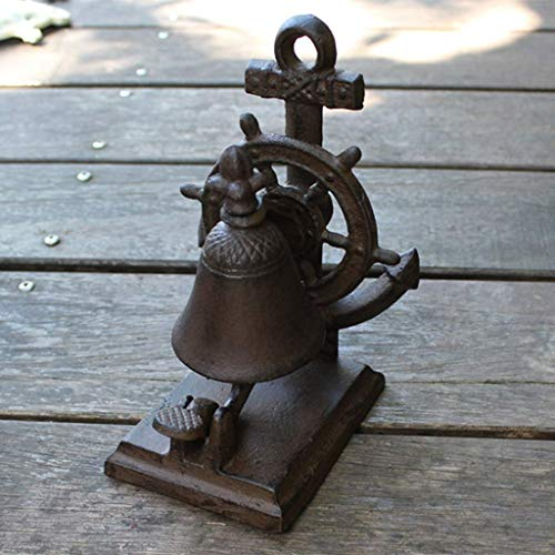 X&Z-XAOY El Timbre de Hierro Fundido náutico sonó un campanario de la Mano, la decoración del jardín del Patio 13.3x12.5x19.7cm Retro Timbre