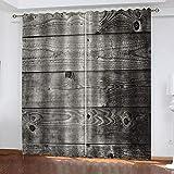 MXYHDZ Cortinas Dormitorio Opacas - Arte de tablón de madera gris Cortinas Salón para Habitación Opacas con Aislamiento Térmico- 160 x 160 cm para Oficina, Dormitorio habitación de los niños, 2 Piezas