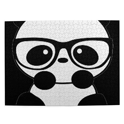 Panda con Gafas, Rompecabezas con imágenes, 500 Piezas, para Adultos y niños, Juego de Cerebro, Pintura, Lienzo, Arte de Pared, decoración, Regalo, decoración del hogar, 20,4 x 15 Pulgadas (Pulgadas)