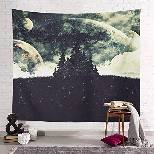WERT Starry Moon Dream Tapiz Colgante de Pared Decoración para el hogar Sala de Estar Dormitorio Dormitorio Arte Fondo de Tela Toalla de Playa Manta de Picnic A14 95x73cm