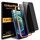 [2 Pack] UniqueMe Privacy Screen Protector for iPhone 12 5G/12 Pro 5G 6.1' Tempered Glass, [Case Friendly] 9H Hardness [Easy Installation Frame] High Definition Bubble Free