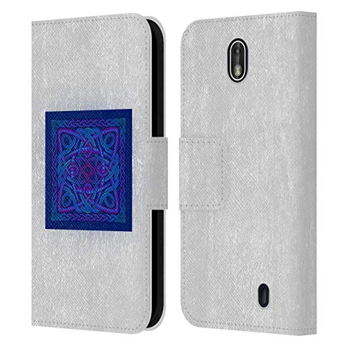Head Case Designs Officially Licensed Beth Wilson Blue Purple Zigzag Celtic Shield Knots Leather Book Wallet Case Cover Compatible with Nokia 1