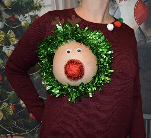 Ugly Christmas Sweater, Reindeer Boob, Women's MEDIUM, Christmas, reindeer, breast, sexy, novelty, pasties