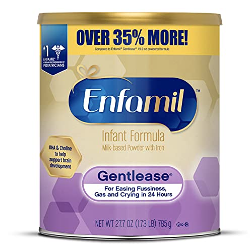 Enfamil Gentlease Baby Formula, Reduces Fussiness, Crying, Gas and Spit-up in 24 hours, DHA & Choline to support Brain development, Value Powder Can, 27.7 Oz