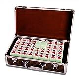 Mah-Jong Mahjong Tiles, Jade Couleur Mahjong Tuiles, Carreaux Mahjong Main Ménage Jeux Dîner Tiles Mahjong 144 Feuilles, avec La Boîte en Aluminium (Color : Emerald Color, Size : 40#)