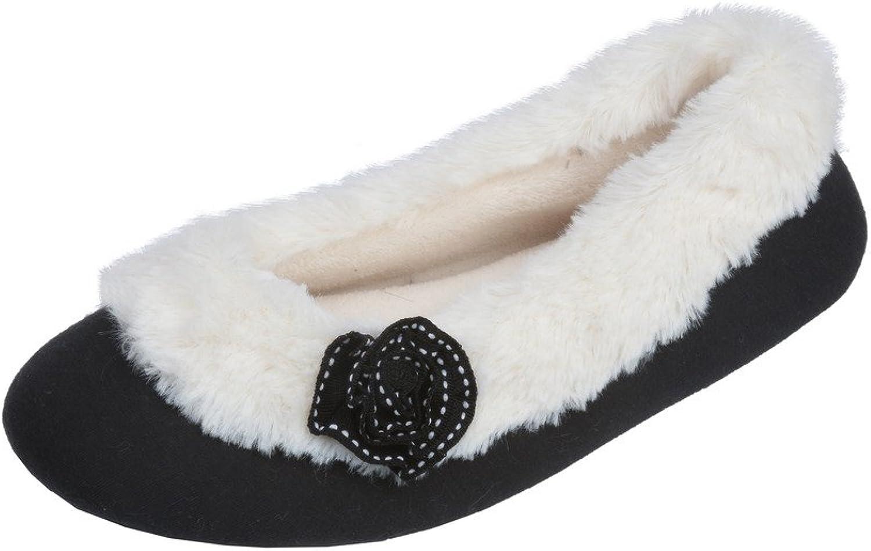Beverly Rock kvinnor Ballerina Faux Fur Cufed Slipper skor skor skor med embellished Flower  klassiskt mode