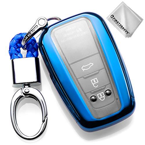 Azul Funda para Llave Smart Key para Coche 2018 2019 Toyota Camry Corolla Avalon Prius C-HR RAV4 3 4 Buttons Carcasa Protectora [Suave] de [Silicona] KY-Camry-GJTM-03G11