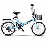 YANGHONG-Bicicleta de montaña deportiva- Bicicleta plegable Adulto ultraligero Variable Variable Velocidad Portátil Mountain Mountain Bike Adulto Macho 20 pulgadas Pequeña Bicicleta, A, 20 pulgadas OU