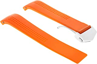 20MM RUBBER BAND STRAP DEPLOY CLASP FOR TAG HEUER CARRERA AQUARACER ORANGE