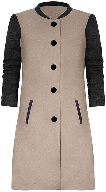 Julitia Winter Long Wool Coat Women Button Patchwork Woman Black Coats Winter