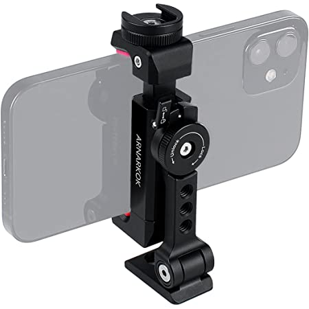 Metal Phone Tripod Mount Rotatable Cold Shoe, 360 Rotation & Tilt Angles,Compatible with iPhone Samsung Smartphone Holder, Tripod Adapter for Cell Phone,Video Live Streaming Vlogging Rig