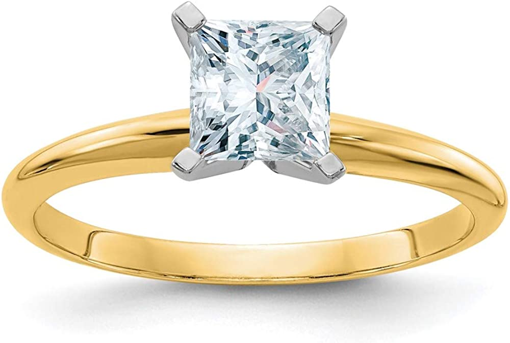 14k Yellow Gold 3/4ct. G H I True Princess Moissanite Solitaire Band Ring Engagement Gsh Gshx Fine Jewelry For Women Gifts For Her