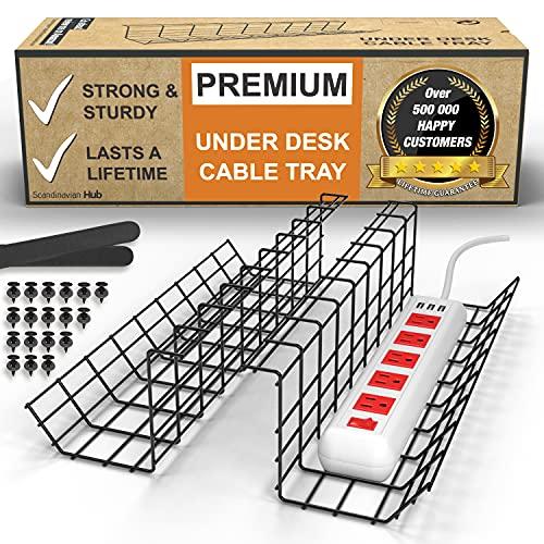 Portacavi da scrivania – organizer per riordinare i cavi. Portacavi in filo metallico per ufficio e casa (Nero - Set da 2x 43cm)
