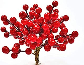 QBOSO 25 PC Red Berry Picks Artificial Red Berries Stamens (6 inch )DIY Wreath, Garland or Tree,Great Ornaments to Any Decoration