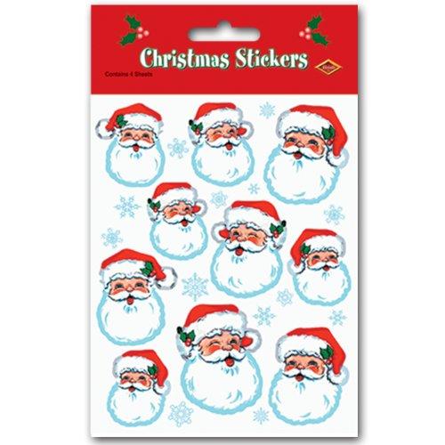 Santa Face Stickers (4 Shs/Pkg)