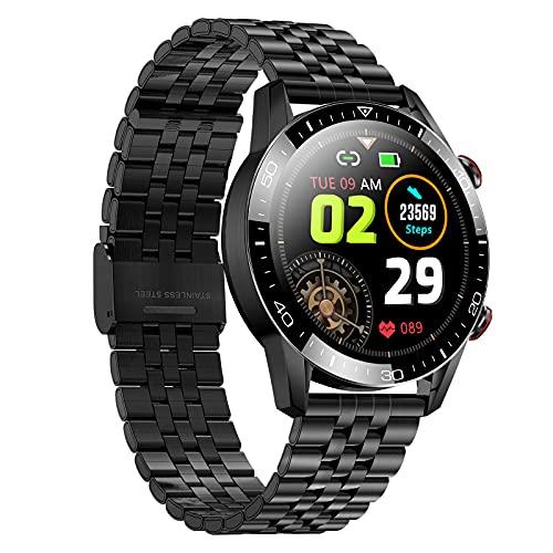 QFSLR Reloj Inteligente Smartwatch con Monitor De Frecuencia Cardíaca Llamada Bluetooth Monitor De Presión Arterial Monitoreo De Oxígeno En Sangre Control De Música IP68 Impermeable,Black e