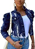 Women Denim Distressed Jacket Puff Sleeve Ripped Classic Button Up Cropped Destroyed Jean Coat