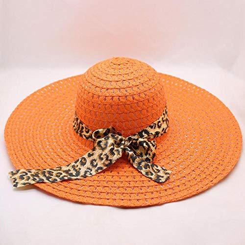 DöllSonnenhut Hut Breite Krempe Lady Strohhut Floppy Fashion Cap Sommersonne Frauen Falten Strandhut Orange