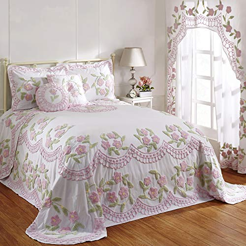 Better Trends Bloomfield Collection is Super Soft and Light Weight in Floral Design 100% Cotton Tufted Unique Luxurious Machine Washable Tumble Dry, Full/Double Bedspread, Rose