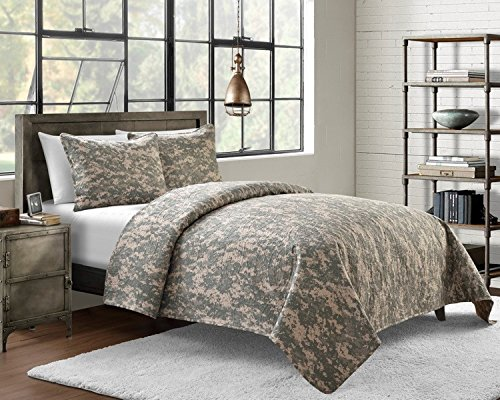 Cozy Bed Microfiber Pinsonic Camouflage Quilt Set, King, Green
