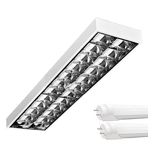 PureLed LED Rasterleuchten mit 2X T8 LED 150cm 23W kaltweiß 6000K G13 Bürolampe