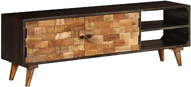 Tidyard Meuble TV Industriel | Meuble d'appoint | Buffet Vintage 140 x 30 x 45 cm en Bois de Manguier Massif