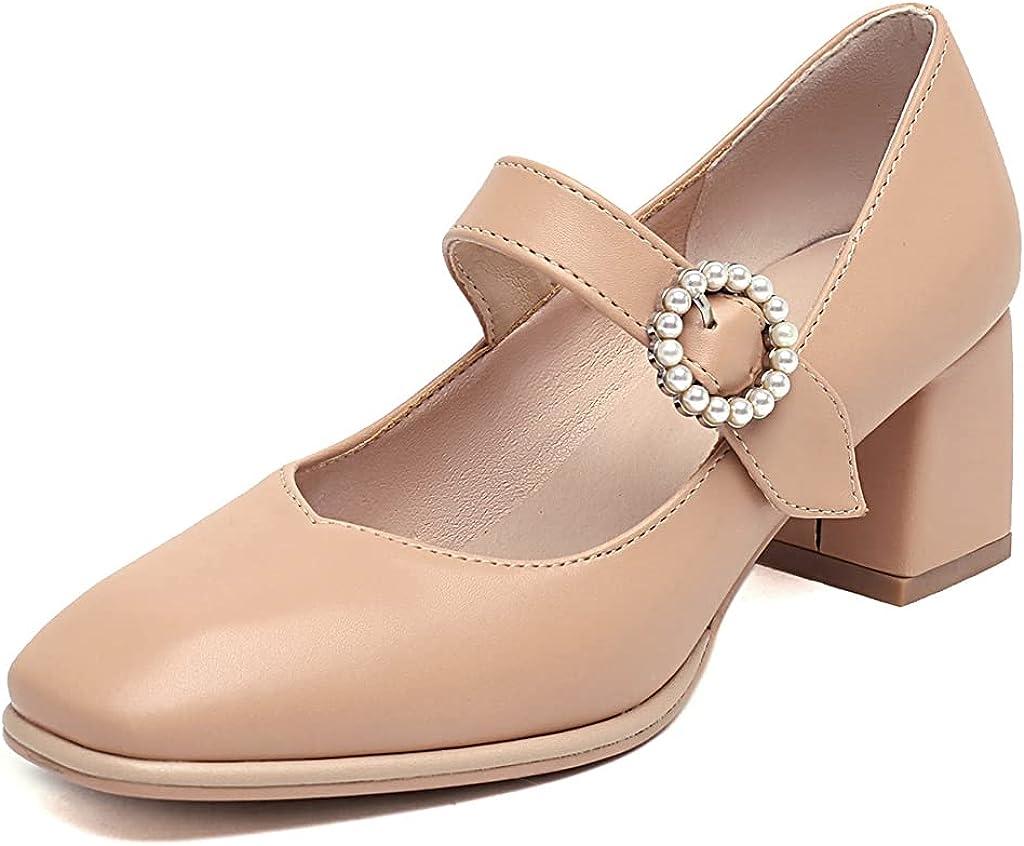 Max 83% OFF MIOKE Women's Fashion Square Toe Mary Dedication Jane St Buckle Pearl Pumps