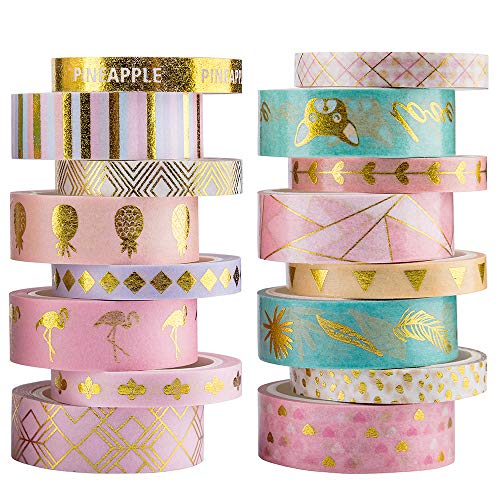 Yubbaex Washi Tape Set cinta adhesiva decorativa Washi Glitter Adhesivo de Cinta Decorativa para DIY Crafts Scrapbooking (Lámina de oro 16 Rollo)