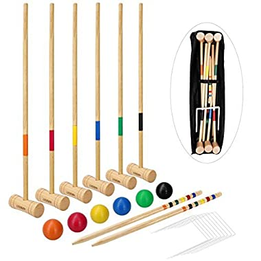 LULULION Croquet Set with Extra Large Carrying Bag - Six Players, Durable Hardwood Material, Prefect for Backyard BBQ, Party or Family Gathering, 31-Inch