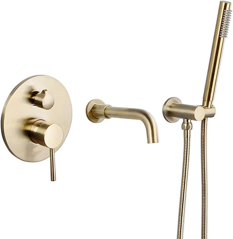 HUIJIN1 Badezimmer-Duschsystem, Wandbrausegarnitur für Badewannenarmaturen, geteilter Badewannenarmatur mit Handbrause, Nickel gebürstet