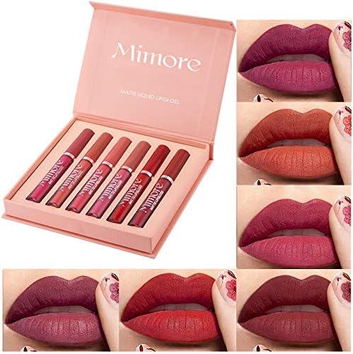OKENTEN 6 Colors Matte Liquid Lipstick Makeup Set Long Lasting Wear Non Stick Cup Not Fade Lip product image