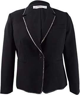 TAHARI Womens Black Notch Collar Studded Crepe Jacket US Size: 4
