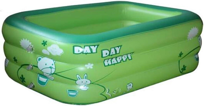 LEGOUGOU Aufblasbares Babybad Baby Kind Duschbecken Coverless rechteckigen aufblasbaren Pool Tragbare aufblasbare Badewanne Fupumpe PVC grün Schaumbad