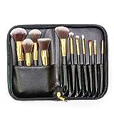 Pincel de maquillaje con cremallera de la PU bolsa de 11 PC fijó herramientas profesionales de belleza fácil de llevar para el recorrido diario