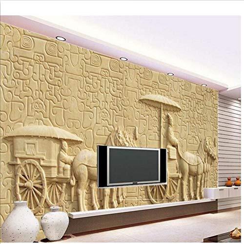 Papel tapiz 3D De gama alta personalizado mural no tejido etiqueta de la pared Relieves clásicos chinos carro 3d pared habitación mural papel tapiz-150x120cm