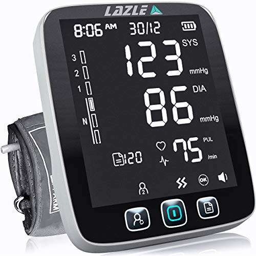 LAZLE Blood Pressure Monitor - Automatic Upper Arm Machine & Accurate Adjustable Digital BP Cuff Kit - Largest Backlit Display - 200 Sets Memory, Includes Batteries, Carrying Case