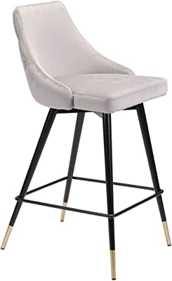 Zuo 101093 Counter Chair, One Size, Gray Velvet