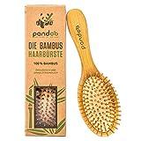 pandoo | Brosse à cheveux en bambou naturel - Avec picots en bambou-Vegan – Végetalien – Démêlante, antistatique et respectueuse de l'environnement- Pour les hommes, les femmes et les enfants
