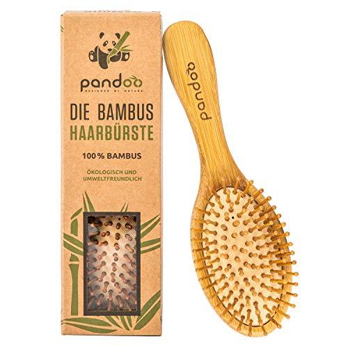 Pandoo cepillo de bambú con cerdas naturales - Vegano, respetuoso del medio ambiente - Cepillo natural con cerdas de bambú para cabello naturalmente bello para hombres, mujeres y niños - desenredante