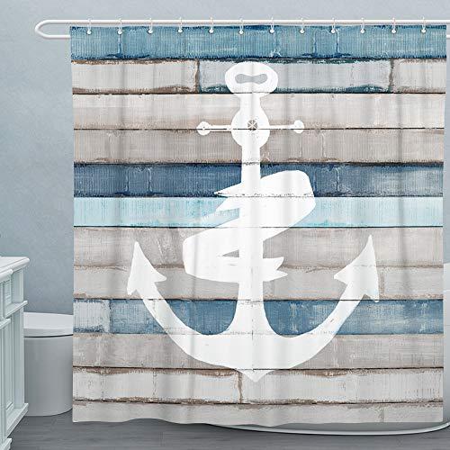 Adecuado Nautical Shower Curtain Set Anchor Bath Curtain Washable Polyester Bathroom Decorative Curtain Liner with Hooks Beach Theme Shower Room Decor 72x72 Inch