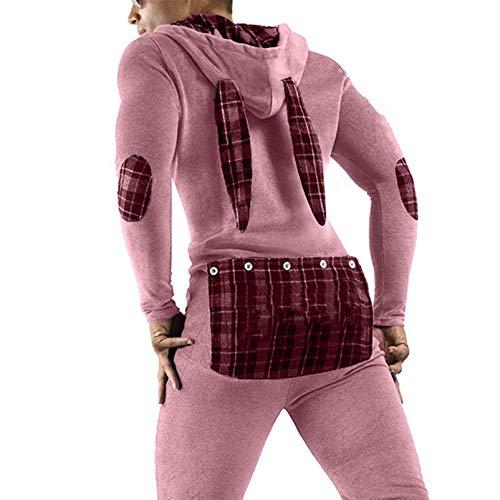 YCYU Pijama sexy con capucha para hombre, de una pieza, manga larga, con orejas de conejo, con botones, para adultos Rosa. M