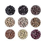 500 pcs Alliages de micro-anneaux doublés de silicium perles extensions de plumes de cheveux 5.0x3.0x3.0 mm perles de cheveux(Marron foncé)