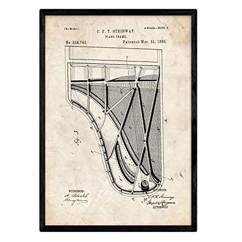 Nacnic Poster con patente de Piano 2. Lámina con diseño de patente antigua en tamaño A3 y con fondo vintage