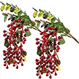 Rinlong Artificial Berries Fake Red Holly Berries Stems Hanging Spray Fall Floral Picks fo...