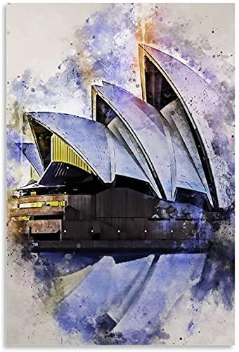 """Iooie Lienzo Pintura Al óLeo Sydney in Watercolor and Picture for Porch Decor Poster Y Estampados Arte Cuadros 19.7""""x27.6""""(50x70cm) Sin Marco"""