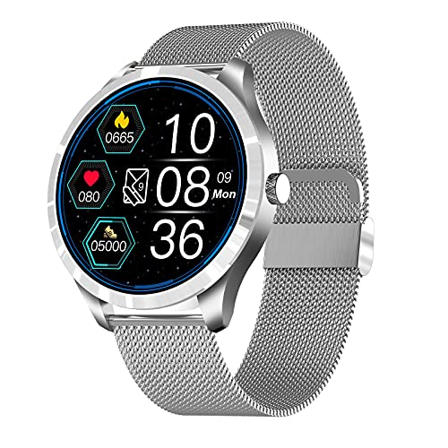 FMSBSC Smartwatch, Reloj Inteligente IP67 Pantalla Táctil Completa Pulsómetro Presión Arterial Monitor de Sueño 7 Modos Deportes Pulsera Actividad para Hombre Mujer Compatible con iOS y Android,Plata